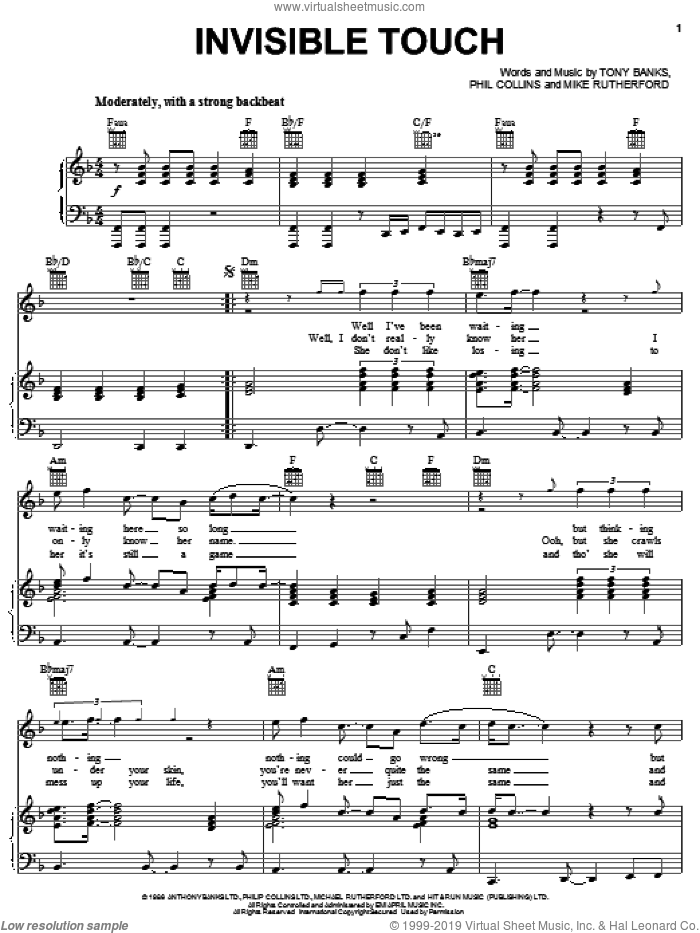Invisible Touch sheet music for voice, piano or guitar by Genesis, Mike Rutherford, Phil Collins and Tony Banks, intermediate skill level