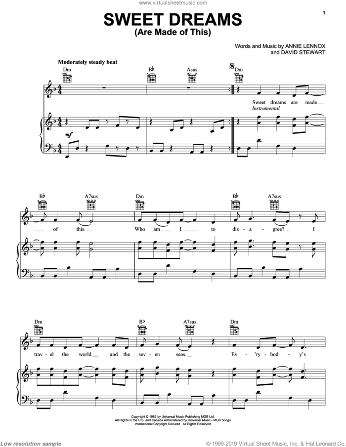 Sweet Dreams (Are Made Of This) sheet music for voice, piano or guitar by Eurythmics, Annie Lennox and Dave Stewart, intermediate skill level