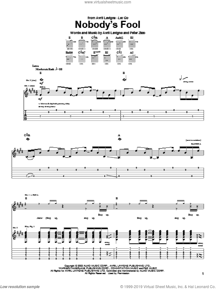 Nobody's Fool sheet music for guitar (tablature) by Avril Lavigne and Peter Zizzo, intermediate skill level