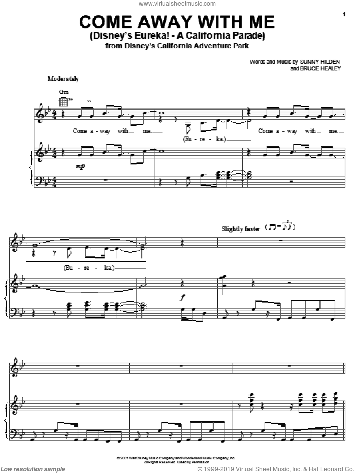 Come Away With Me (Disney's Eureka! - A California Parade) sheet music for voice, piano or guitar by Sunny Hilden and Bruce Healey, intermediate skill level