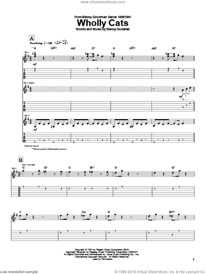 Wholly Cats sheet music for guitar (tablature) by Charlie Christian and Benny Goodman, intermediate skill level