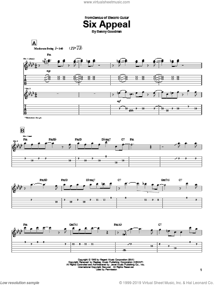Six Appeal sheet music for guitar (tablature) by Charlie Christian and Benny Goodman, intermediate skill level