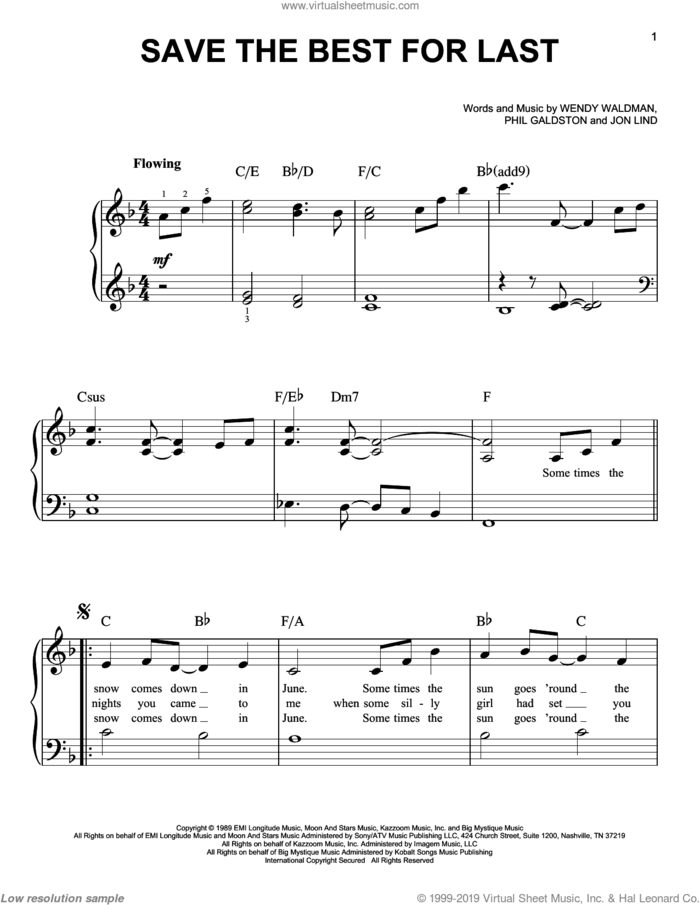Save The Best For Last sheet music for piano solo by Vanessa Williams, Jon Lind, Phil Galdston and Wendy Waldman, wedding score, easy skill level