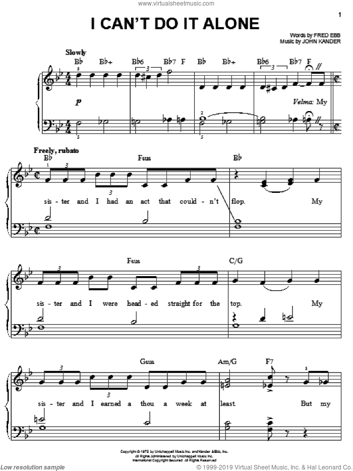 I Can't Do It Alone sheet music for piano solo by Kander & Ebb, Chicago (Musical), Fred Ebb and John Kander, easy skill level