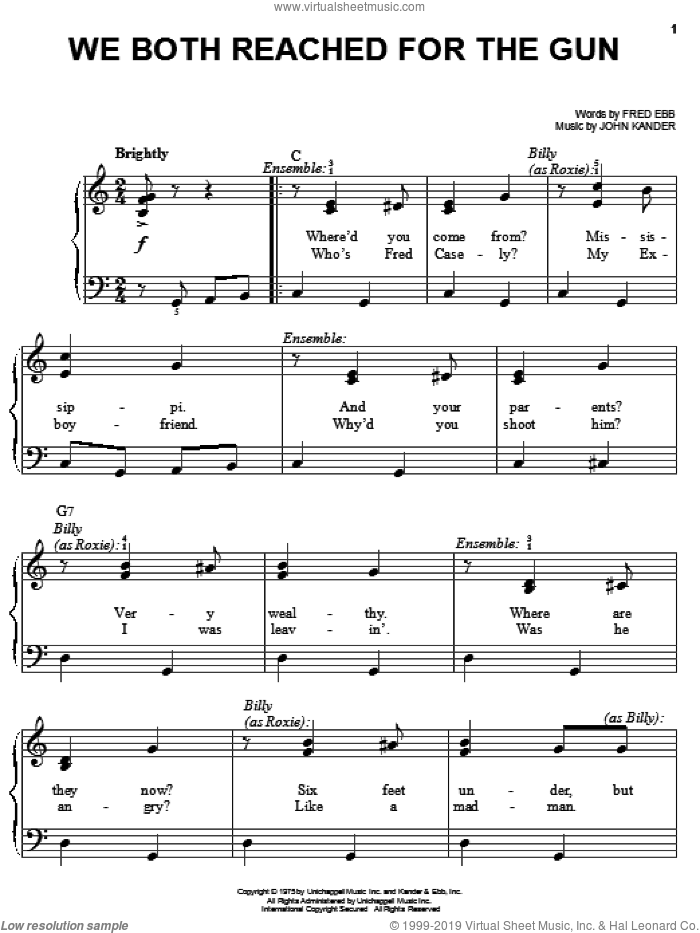 We Both Reached For The Gun sheet music for piano solo by Kander & Ebb, Chicago (Musical), Fred Ebb and John Kander, easy skill level