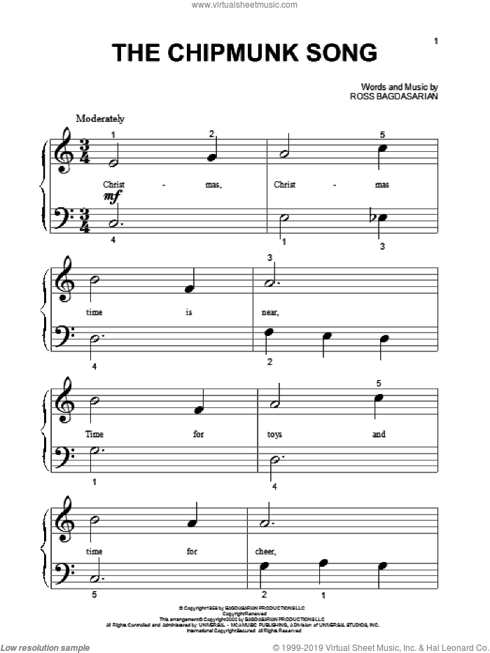 The Chipmunk Song sheet music for piano solo (big note book) by Alvin And The Chipmunks and Ross Bagdasarian, easy piano (big note book)