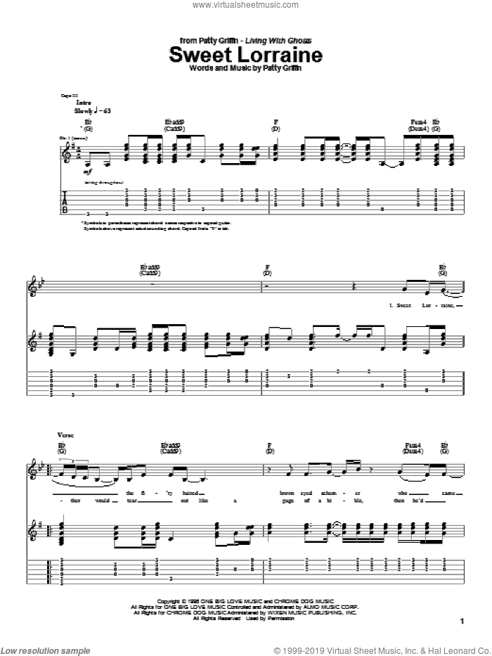 Sweet Lorraine sheet music for guitar (tablature) by Patty Griffin, intermediate skill level