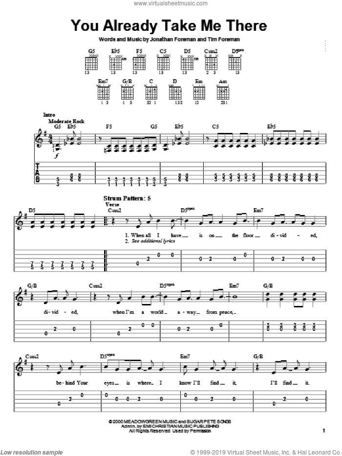 You Already Take Me There sheet music for guitar solo (easy tablature) by Switchfoot, Jonathan Foreman and Tim Foreman, easy guitar (easy tablature)