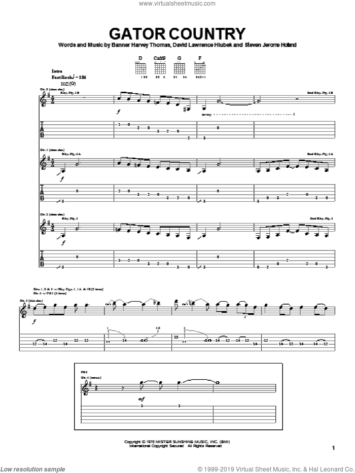 Gator Country sheet music for guitar (tablature) by Molly Hatchet, Banner Harvey Thomas, David Lawrence Hlubek and Steven Jerome Holland, intermediate skill level