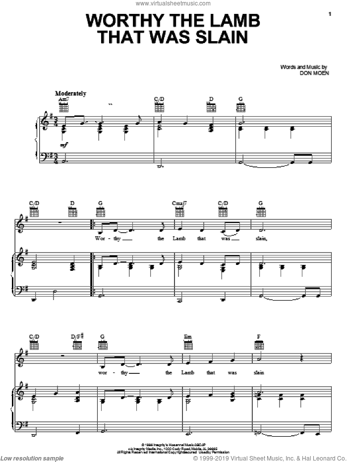 Worthy The Lamb That Was Slain sheet music for voice, piano or guitar by Don Moen, intermediate skill level