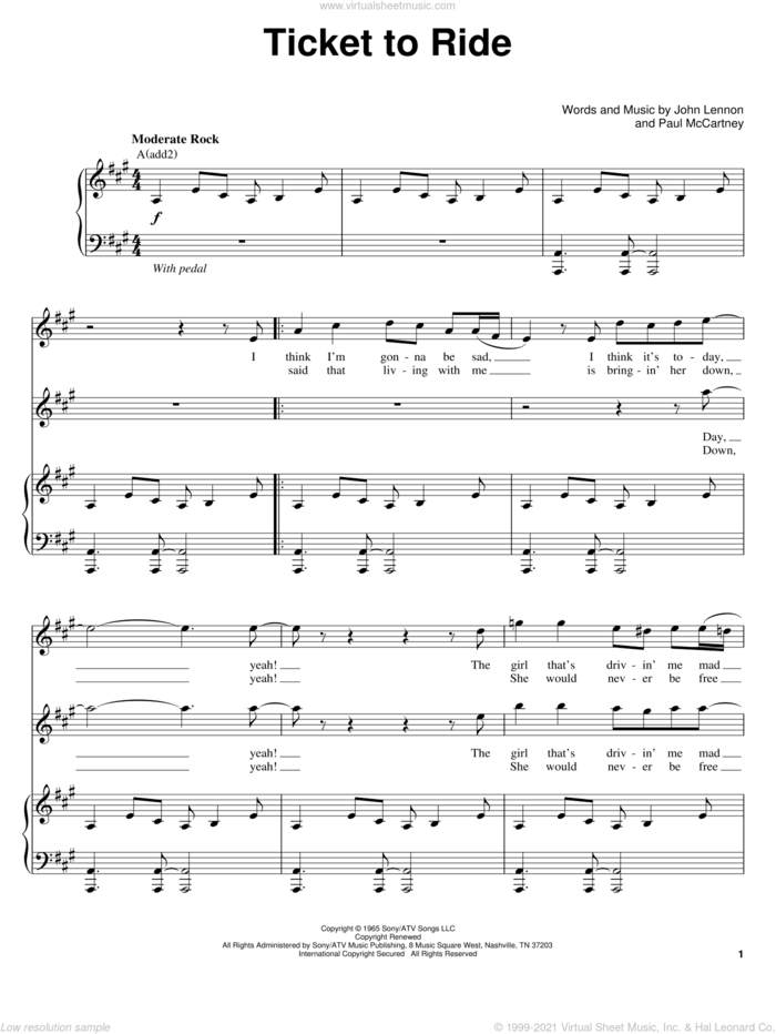 Ticket To Ride sheet music for voice and piano by The Beatles, John Lennon and Paul McCartney, intermediate skill level