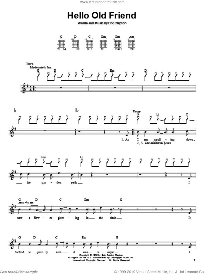 Hello Old Friend sheet music for guitar solo (chords) by Eric Clapton, easy guitar (chords)