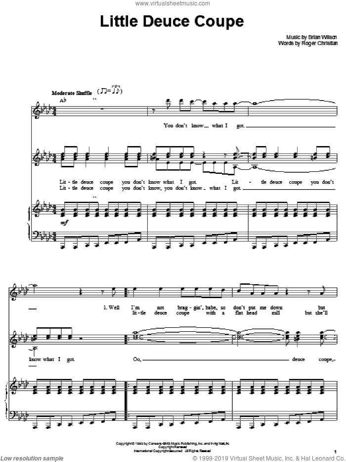 Little Deuce Coupe sheet music for voice and piano by The Beach Boys, Brian Wilson and Roger Christian, intermediate skill level