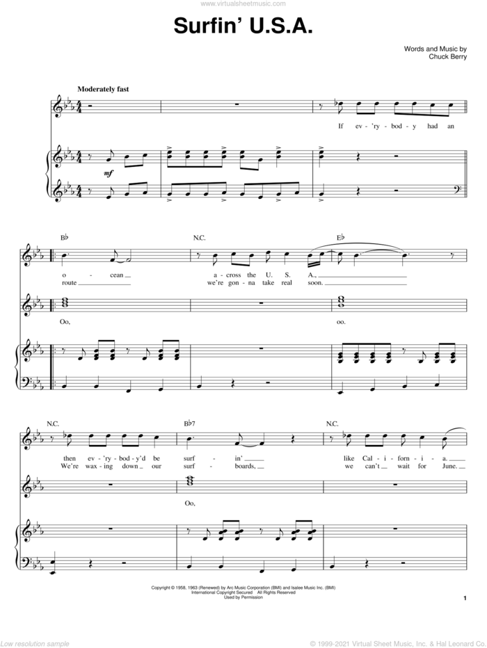 Surfin' U.S.A. sheet music for voice and piano by The Beach Boys, Brian Wilson and Chuck Berry, intermediate skill level