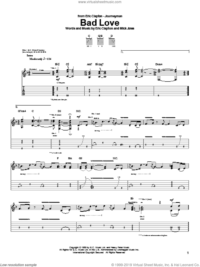Bad Love sheet music for guitar (tablature) by Eric Clapton and Mick Jones, intermediate skill level