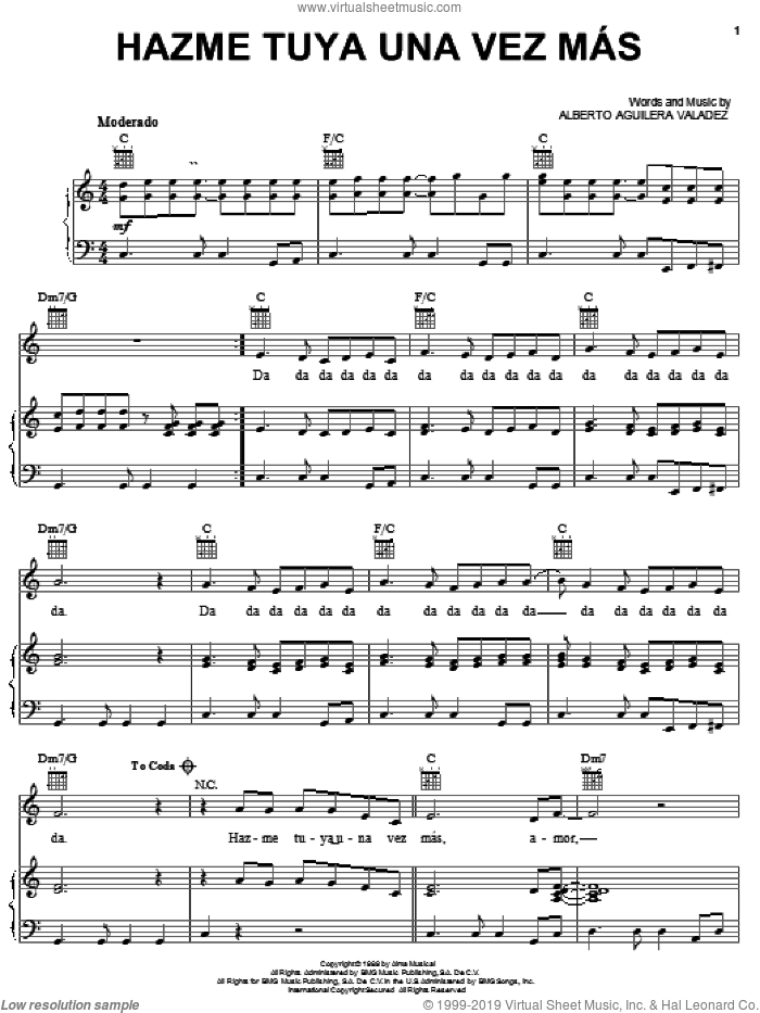Hazme Tuya Una Vez Mas sheet music for voice, piano or guitar by Alberto Aguilera Valadez, intermediate skill level