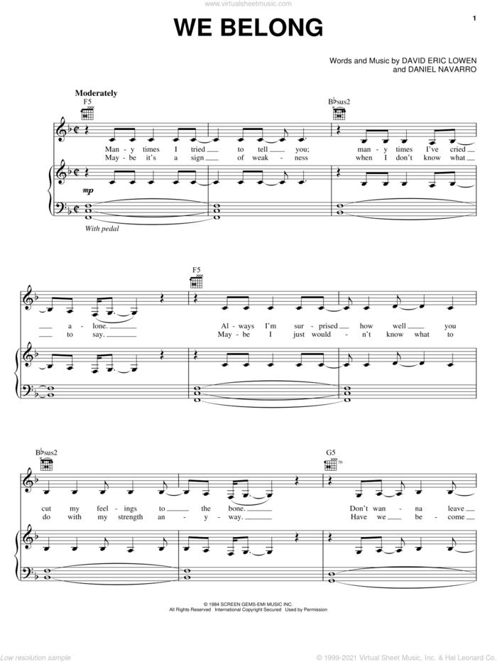 We Belong sheet music for voice, piano or guitar by Pat Benatar, Daniel Navarro and David Eric Lowen, intermediate skill level