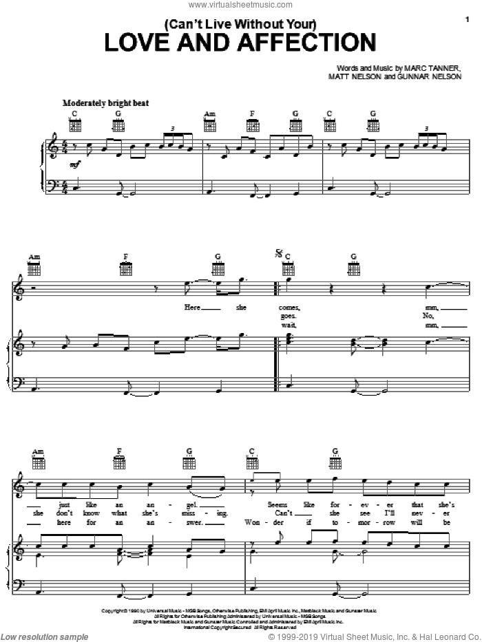 (Can't Live Without Your) Love And Affection sheet music for voice, piano or guitar by Nelson, Gunnar Nelson, Marc Tanner and Matt Nelson, intermediate skill level