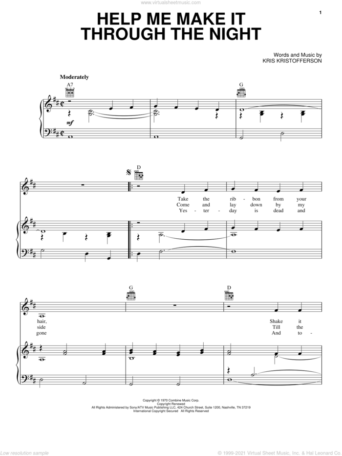 Help Me Make It Through The Night sheet music for voice, piano or guitar by Kris Kristofferson, Elvis Presley, Sammi Smith and Willie Nelson, intermediate skill level