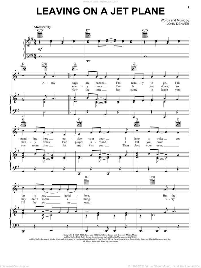 Leaving On A Jet Plane sheet music for voice, piano or guitar by John Denver and Peter, Paul & Mary, intermediate skill level