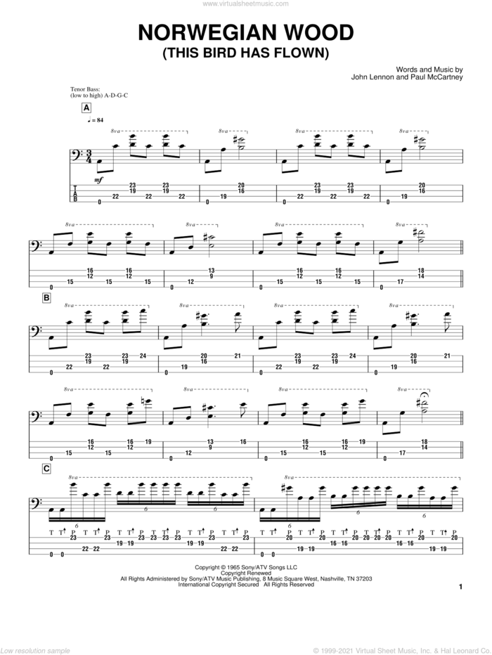 Norwegian Wood (This Bird Has Flown) sheet music for bass (tablature) (bass guitar) by Victor Wooten, The Beatles, John Lennon and Paul McCartney, intermediate skill level