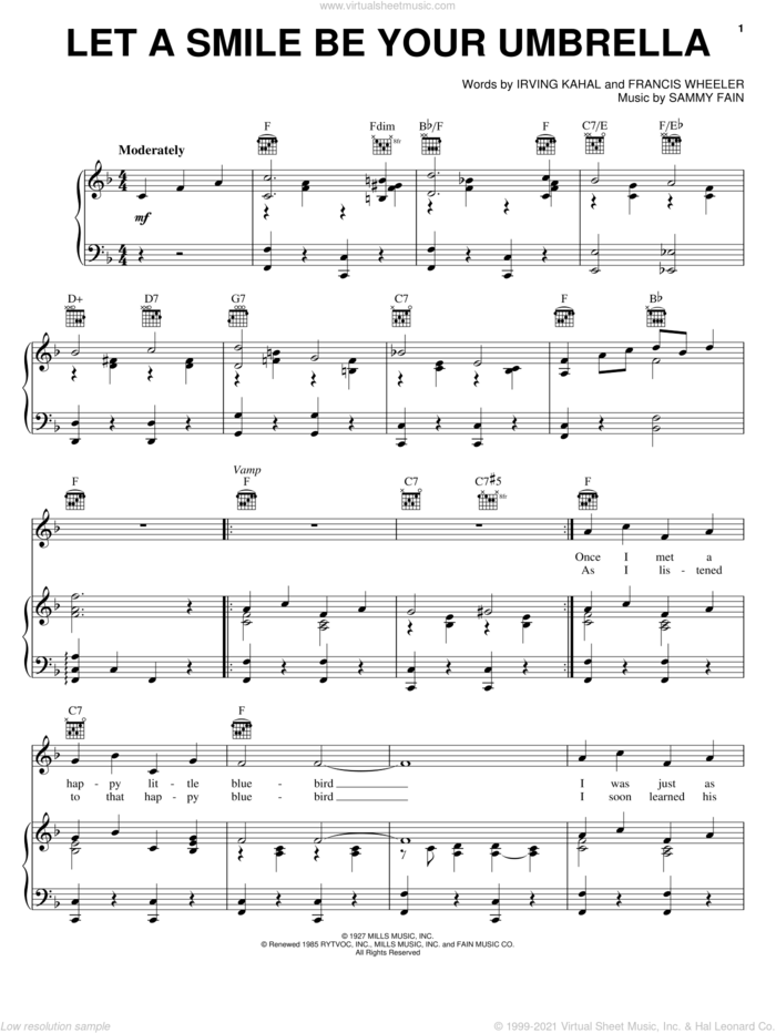 Let A Smile Be Your Umbrella sheet music for voice, piano or guitar by Irving Kahal, Francis Wheeler and Sammy Fain, intermediate skill level