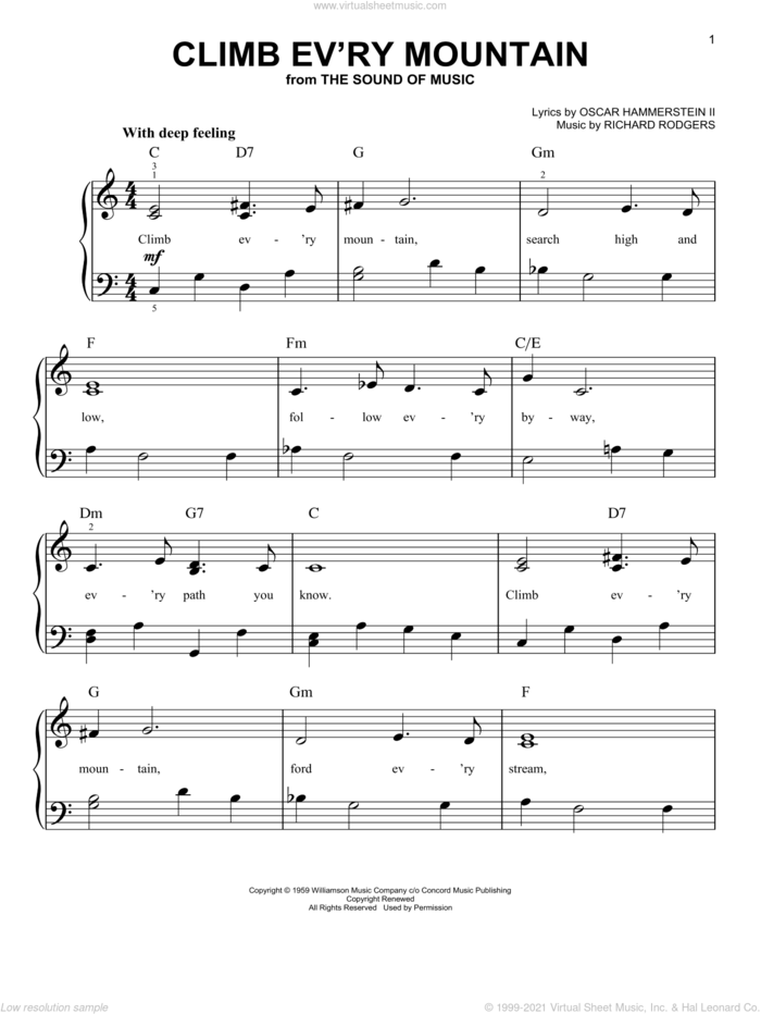 Climb Ev'ry Mountain (from The Sound of Music) sheet music for piano solo by Rodgers & Hammerstein, The Sound Of Music (Musical), Oscar II Hammerstein and Richard Rodgers, easy skill level