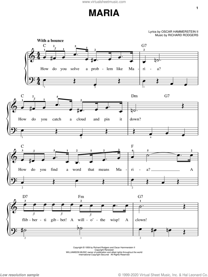 Maria (from The Sound of Music) sheet music for piano solo by Rodgers & Hammerstein, The Sound Of Music (Musical), Oscar II Hammerstein and Richard Rodgers, easy skill level