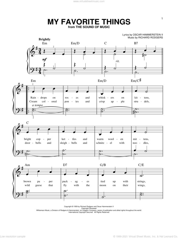 My Favorite Things, (beginner) sheet music for piano solo by Rodgers & Hammerstein, The Sound Of Music (Musical), Oscar II Hammerstein and Richard Rodgers, beginner skill level