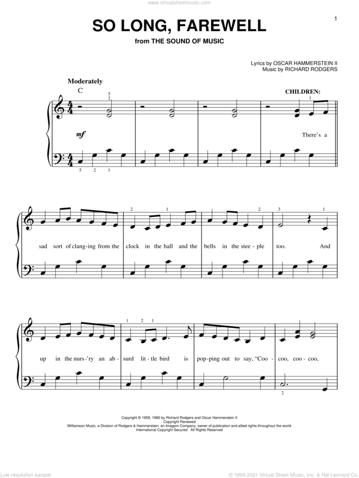So Long, Farewell (from The Sound of Music), (easy) sheet music for piano solo by Rodgers & Hammerstein, The Sound Of Music (Musical), Oscar II Hammerstein and Richard Rodgers, easy skill level