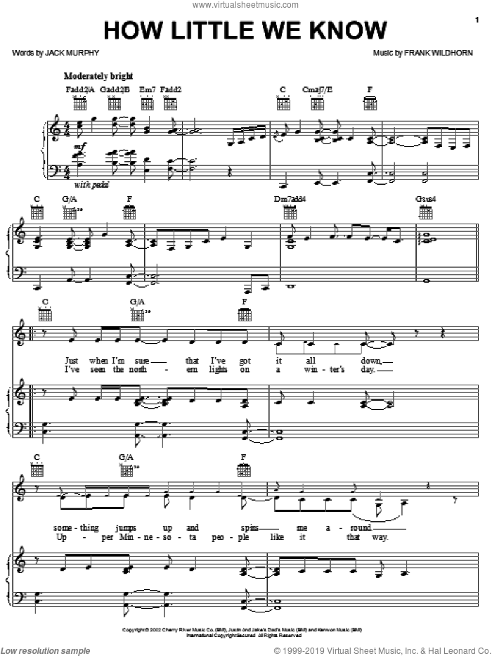 How Little We Know sheet music for voice, piano or guitar by Linda Eder, Frank Wildhorn and Jack Murphy, intermediate skill level