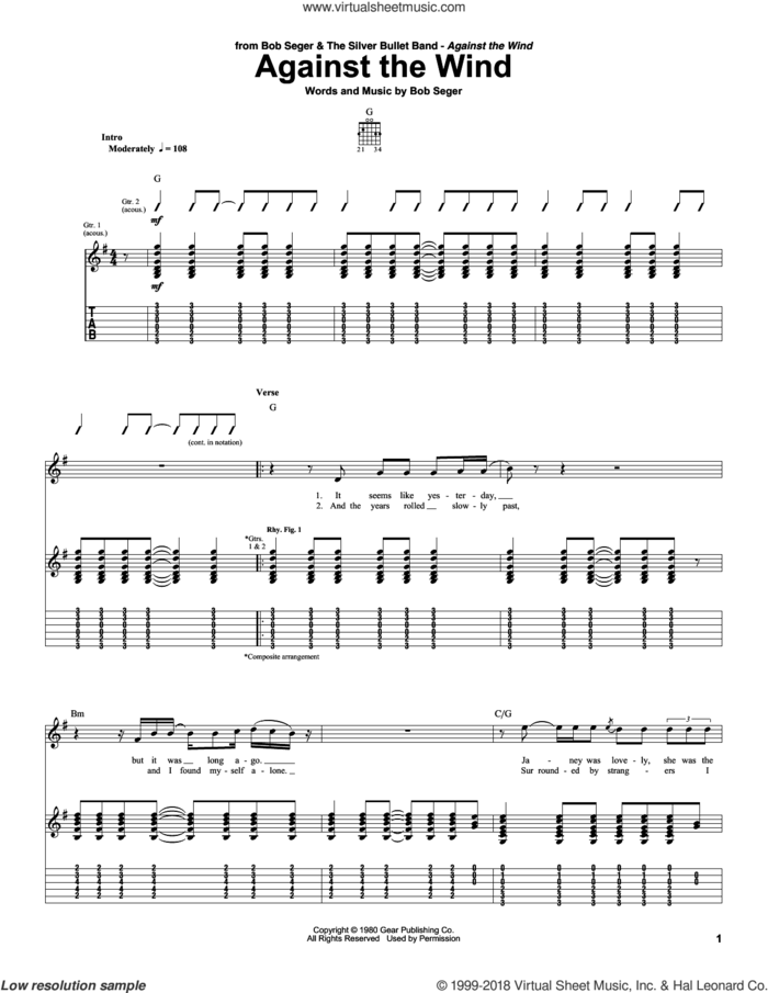 Against The Wind sheet music for guitar (tablature) by Bob Seger and Bob Seger & The Silver Bullet Band, intermediate skill level