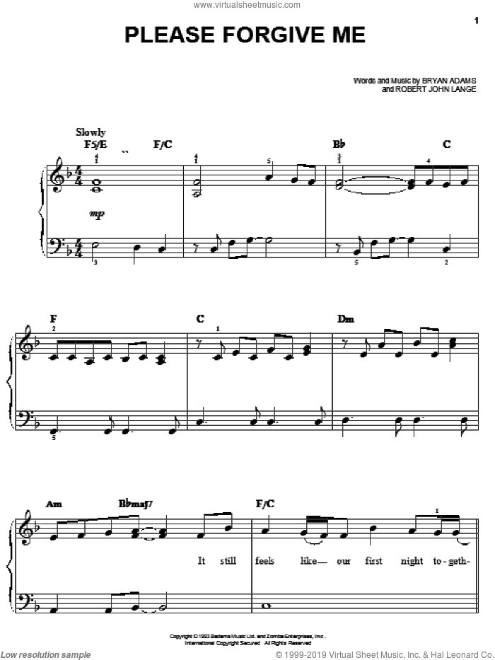 Please Forgive Me sheet music for piano solo by Bryan Adams and Robert John Lange, easy skill level