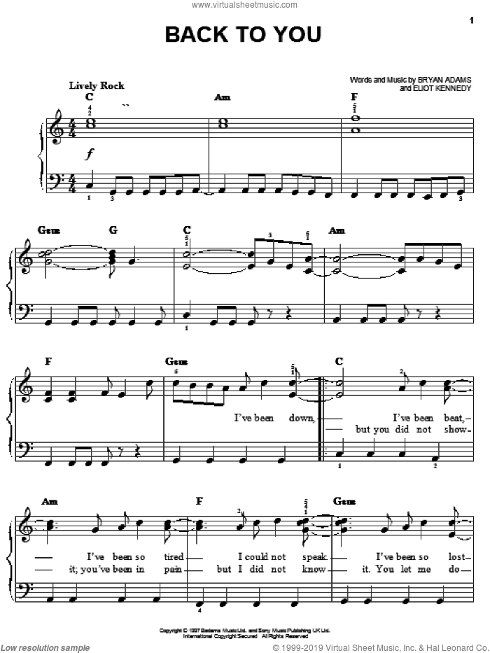 Back To You sheet music for piano solo by Bryan Adams and Eliot Kennedy, easy skill level