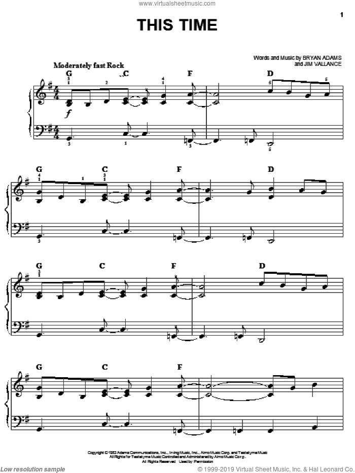 This Time sheet music for piano solo by Bryan Adams and Jim Vallance, easy skill level