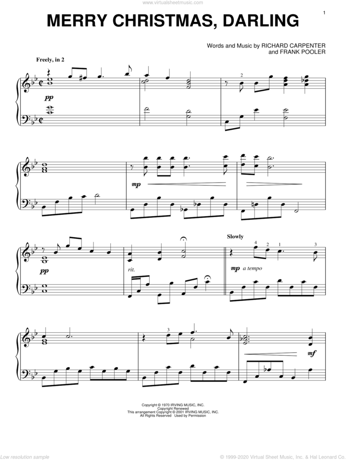 Merry Christmas, Darling, (intermediate) sheet music for piano solo by Carpenters, Frank Pooler and Richard Carpenter, intermediate skill level