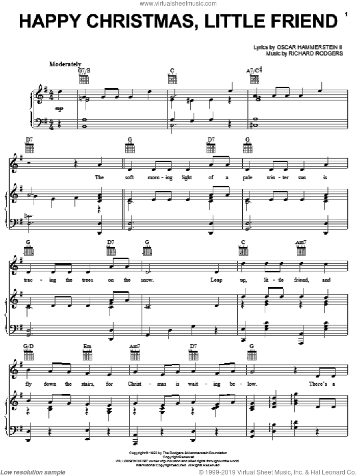 Happy Christmas, Little Friend sheet music for voice, piano or guitar by Rodgers & Hammerstein, Oscar II Hammerstein and Richard Rodgers, intermediate skill level