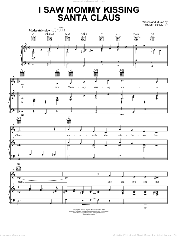 I Saw Mommy Kissing Santa Claus sheet music for voice, piano or guitar by Tommie Connor, intermediate skill level