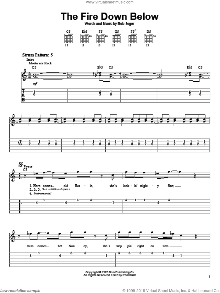 The Fire Down Below sheet music for guitar solo (easy tablature) by Bob Seger, easy guitar (easy tablature)