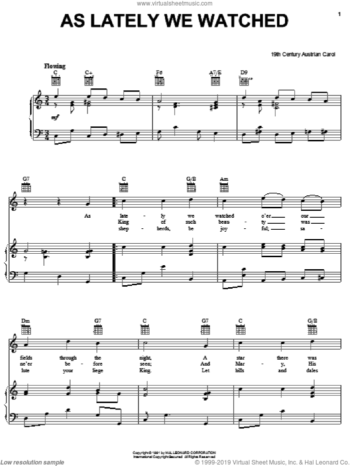 As Lately We Watched sheet music for voice, piano or guitar by Anonymous and 19th Century Austrian Carol, intermediate skill level