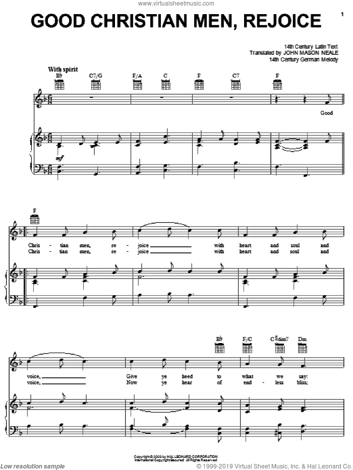 Good Christian Men, Rejoice sheet music for voice, piano or guitar by John Mason Neale, 14th Century German Melody and Miscellaneous, intermediate skill level