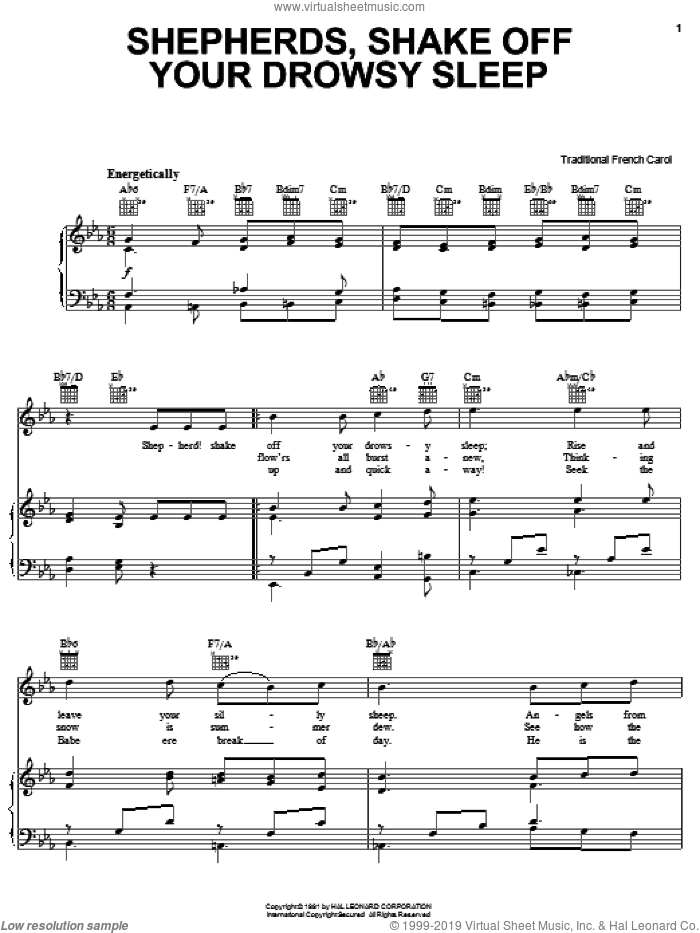 Shepherd! Shake Off Your Drowsy Sleep sheet music for voice, piano or guitar, intermediate skill level