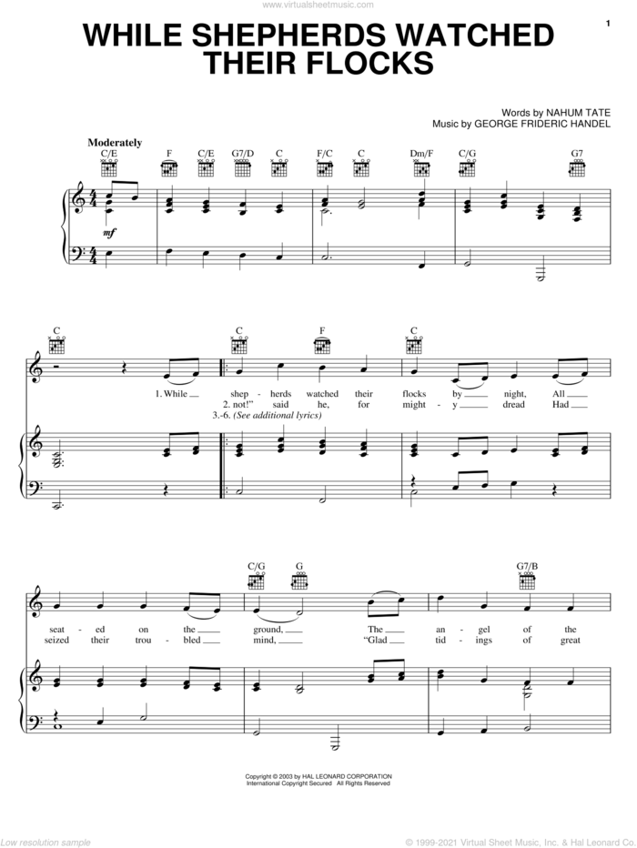 While Shepherds Watched Their Flocks sheet music for voice, piano or guitar by George Frideric Handel, Miscellaneous and Nahum Tate, classical score, intermediate skill level