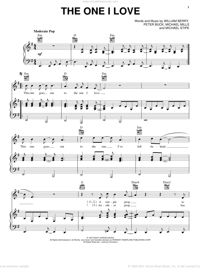 The One I Love sheet music for voice, piano or guitar by R.E.M., Bill Berry, Mike Mills and Peter Buck, intermediate skill level