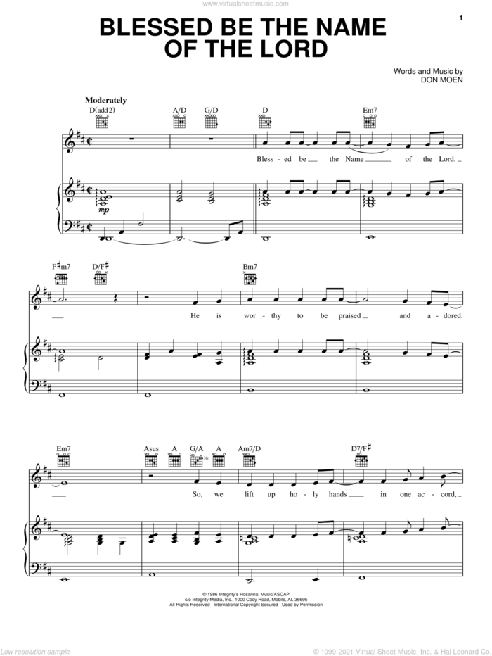 Blessed Be The Name Of The Lord sheet music for voice, piano or guitar by Don Moen, intermediate skill level