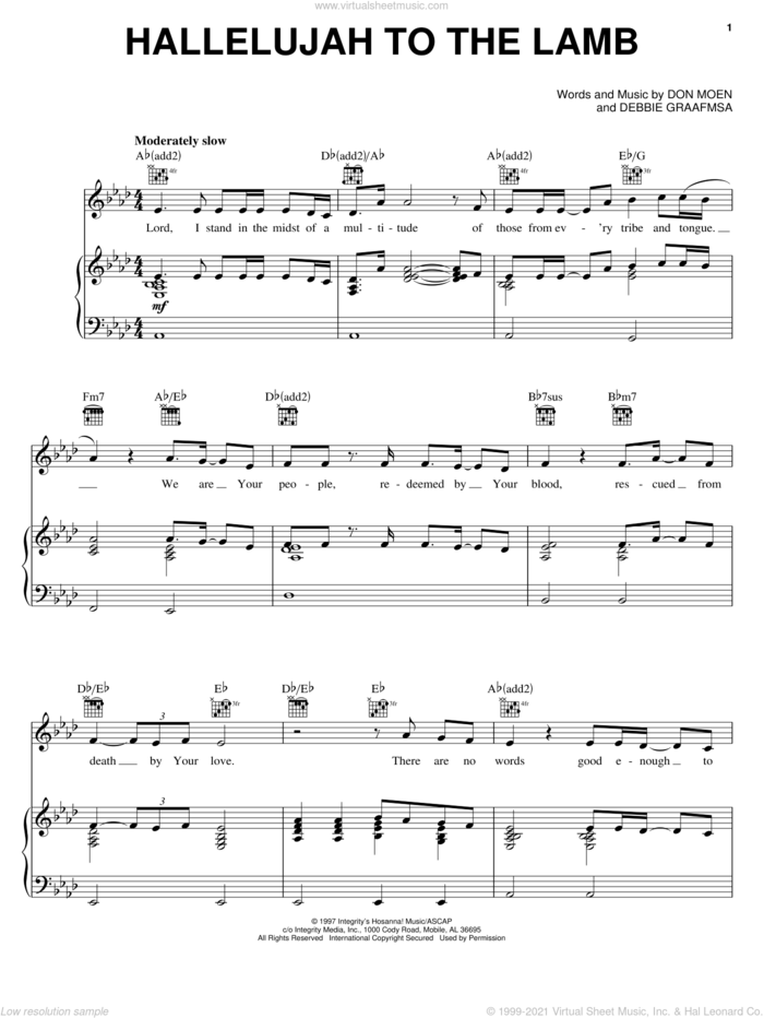 Hallelujah To The Lamb sheet music for voice, piano or guitar by Don Moen and Debbie Graafsma, intermediate skill level