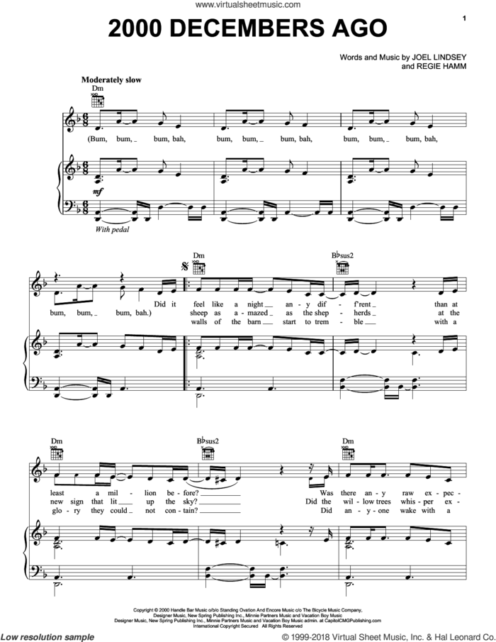 2000 Decembers Ago sheet music for voice, piano or guitar by Joy Williams, Joel Lindsey and Regie Hamm, intermediate skill level