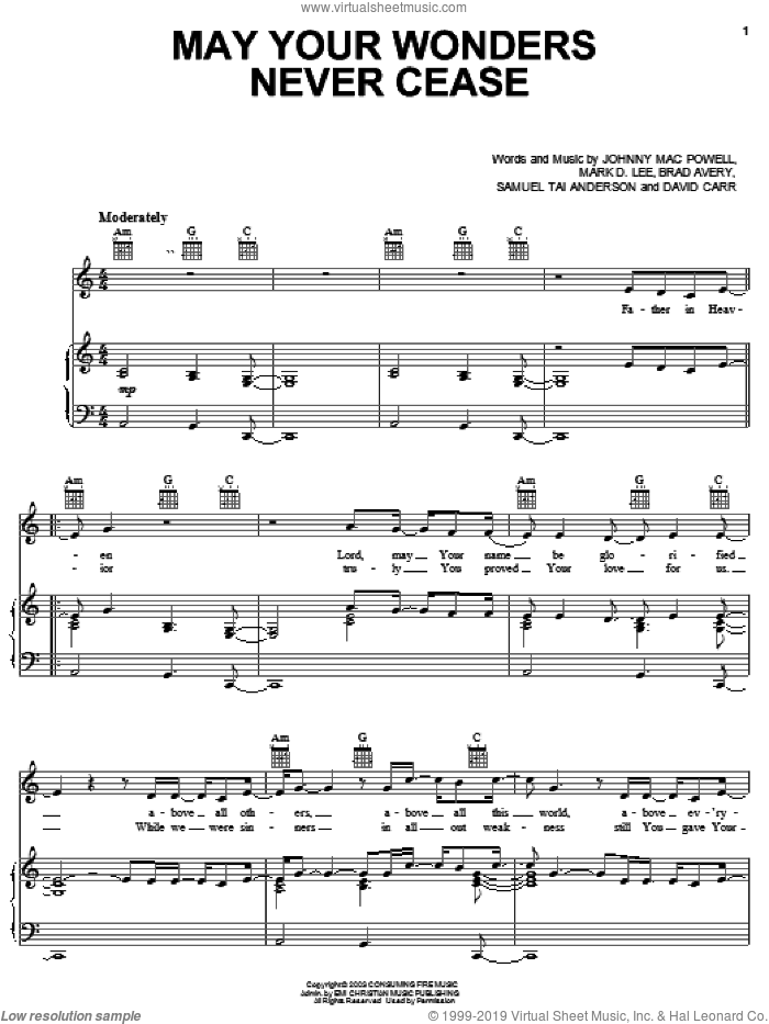 May Wonders Never Cease sheet music for voice, piano or guitar by Third Day, Brad Avery, Johnny Mac Powell and Mark D. Lee, intermediate skill level