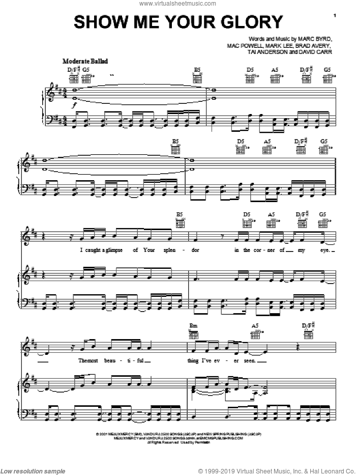 Show Me Your Glory sheet music for voice, piano or guitar by Third Day, Mac Powell, Marc Byrd and Mark Lee, intermediate skill level