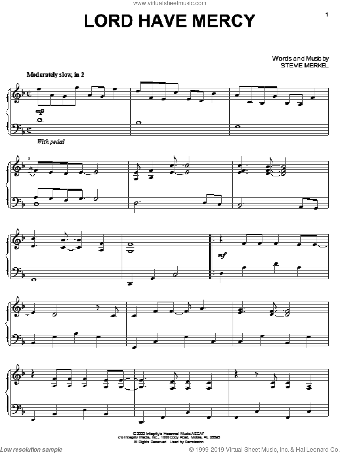 Lord Have Mercy sheet music for piano solo by Steve Merkel, intermediate skill level